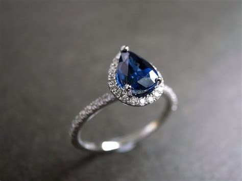 pear cut blue sapphire engagement ring by