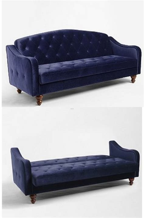 Blue Velvet Tufted Ava Sleeper Couch From Uo In Los Feliz Sleeper Sofas Los Angeles