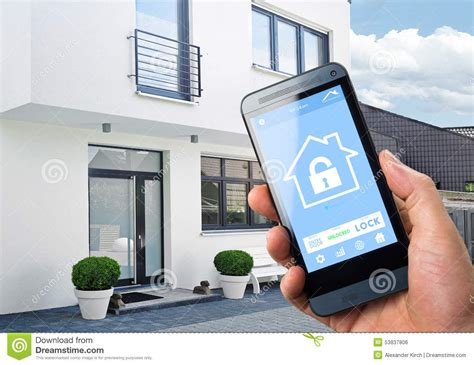 Smartphone Home Automation | smart home device home control stock illustration