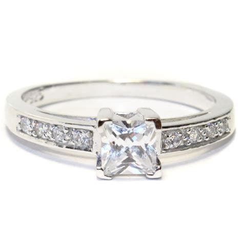 princess cut white promise ring beautiful