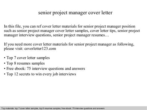 Senior It Manager Cover Letter Senior Project Manager Cover Letter