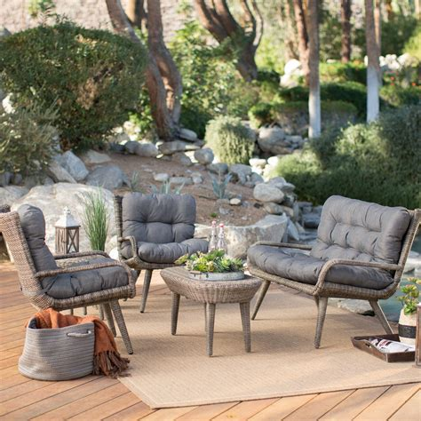 Hayneedle Patio Furniture Belham Living All Weather Wicker Conversation Set Seats 4 Conversation Patio Sets At