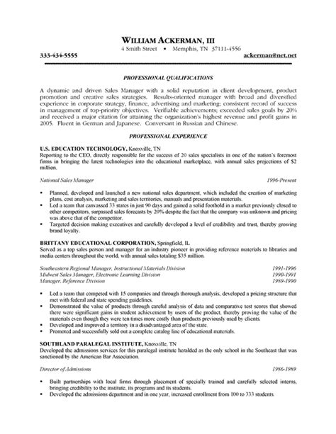 Resume Exles For Sales Sales Resume Exle Sle