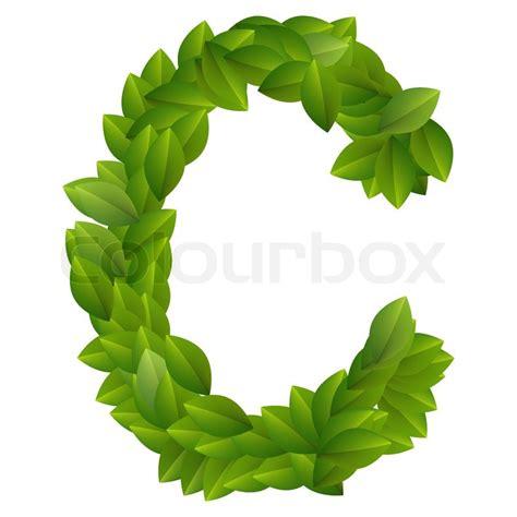 Green C letter c of green leaves alphabet stock vector colourbox
