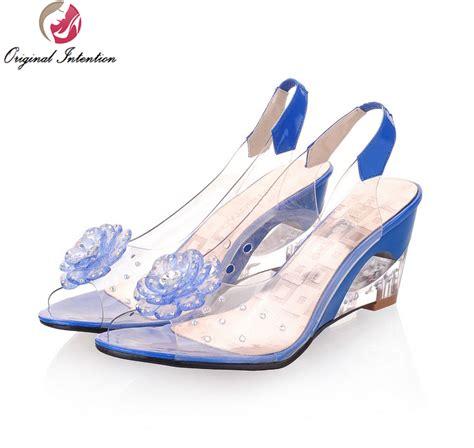 Sandal Rndz Redblack original intention sandals transparent flowers wedges sandals black blue yellow beige