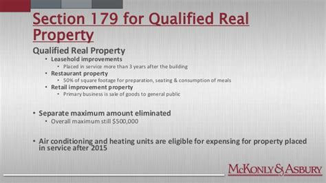 qualified real property section 179 income tax update past present and future