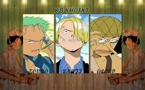 Kaos One Anime Luffy Zorro luffy zorro sanji ussop by wb khoski fond d 233 cran and arri 232 re plan 1680x1050 id 551225