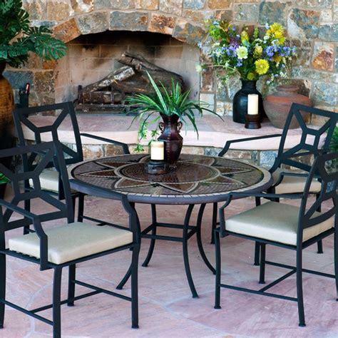 Mosaic Outdoor Dining Table Iron And Mosaic Chat Table Mediterranean Outdoor Dining Tables Atlanta By Iron Accents