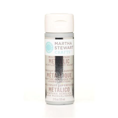 martha stewart crafts 2 oz sterling multi surface metallic acrylic craft paint 32128 the home