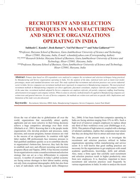 Questionnaire On Recruitment And Selection For Mba by Literature Review On Recruitment Process Pdf Start
