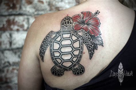 sea turtle amp hibiscus tattoo best tattoo design ideas