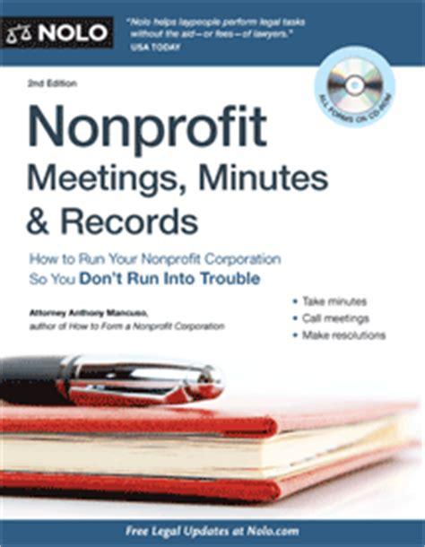 Non Profit Records Nonprofit Meetings Minutes Records Book Nolo