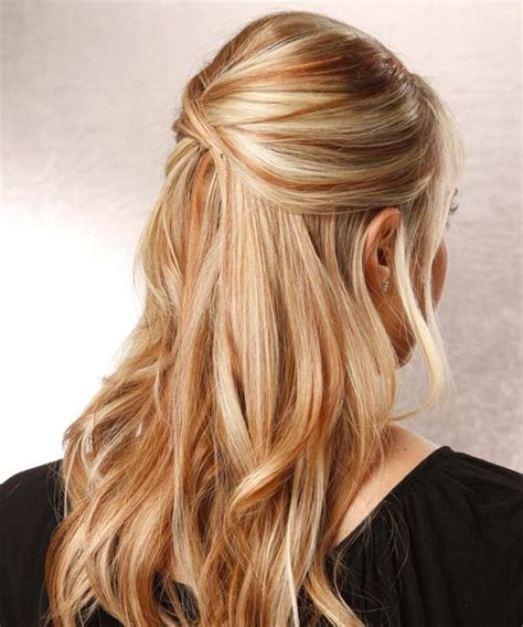medium blonde highlights with lowlights aveda color long blonde and auburn highlights up long straight