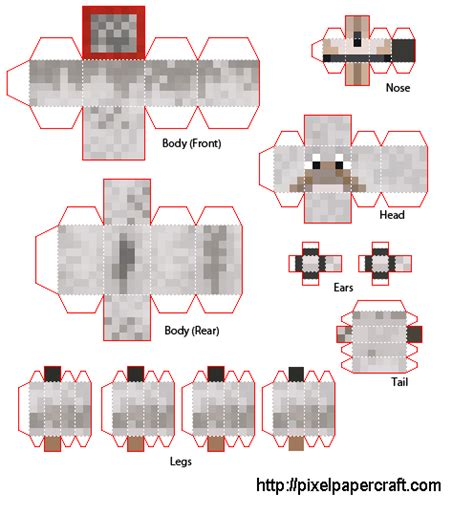 Papercraft Minecraft Wolf - papercraft wolf better tabs