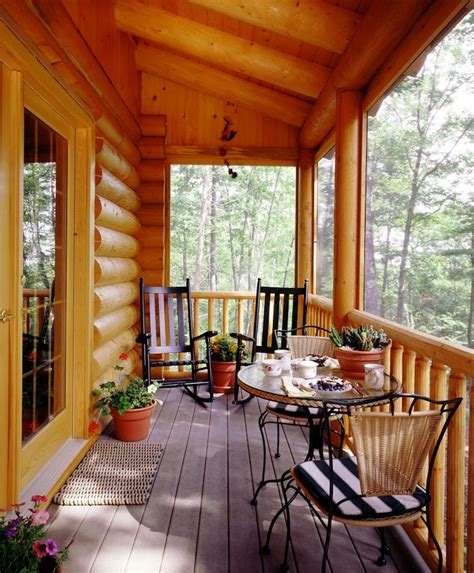 log home screened porch  posts google search