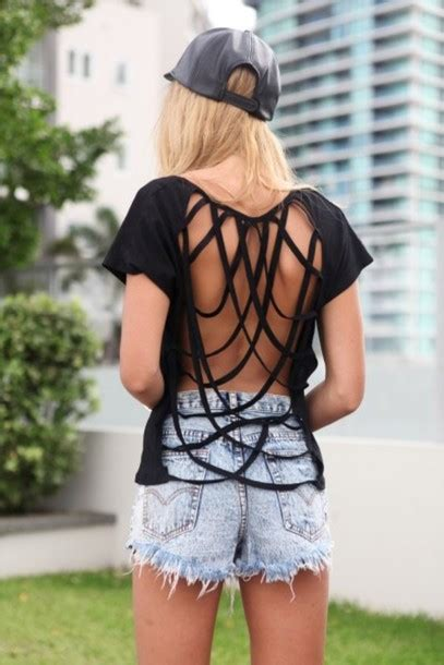 T Shirt Sabo t shirt black t shirt black sabo skirt backless