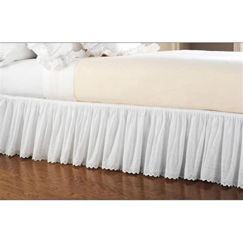 walmart bed skirts hometrends eyelet lace bed skirt bedding walmart com