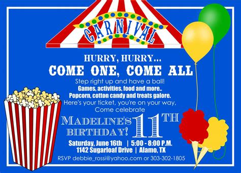 carnival themed birthday invitation templates free carnival birthday invitations birthday invitations