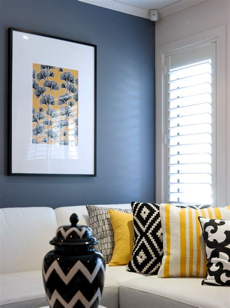 yellow black and white living room a look at cathy elsmore s black yellow and white living