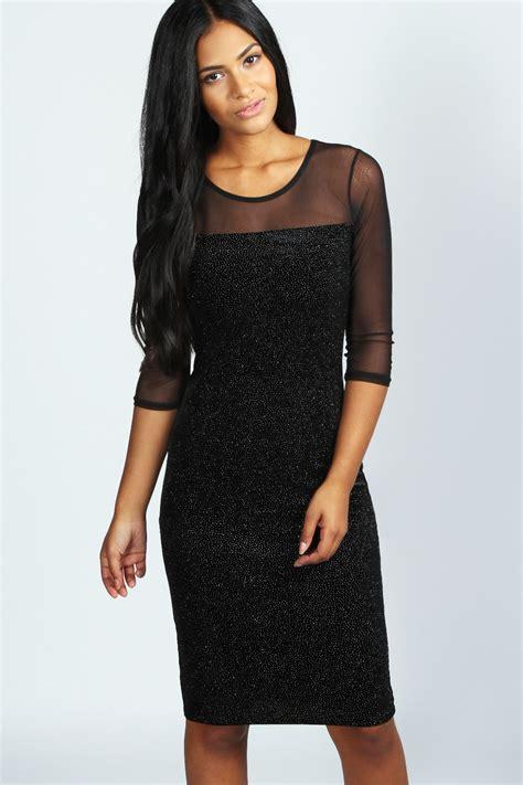 Velvet Mididress grace velvet glitter bodycon midi dress black black shopping s fashion s
