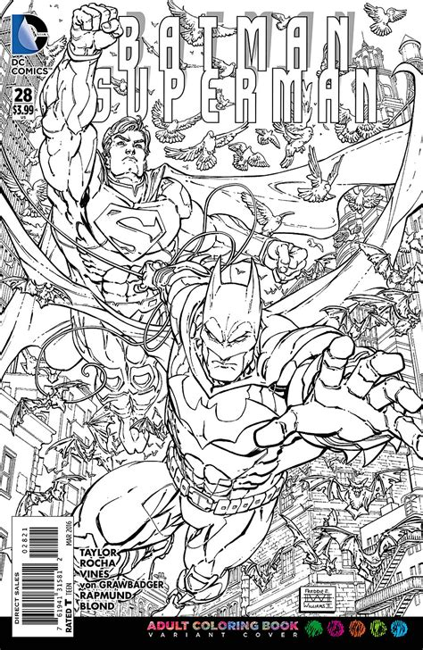 coloring dc previewsworld batman superman 28 coloring book var ed