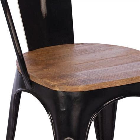 Metal And Wood Dining Chair Buy Rustic Metal Wood Dining Chair Black Frame Chairs Furniture