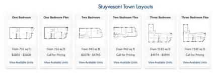 stuy town floor plans stuyvesant town rentals flex apartments dob