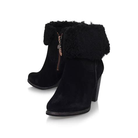 high heel ugg boots ugg charlee high heel fur cuff ankle boots in black lyst