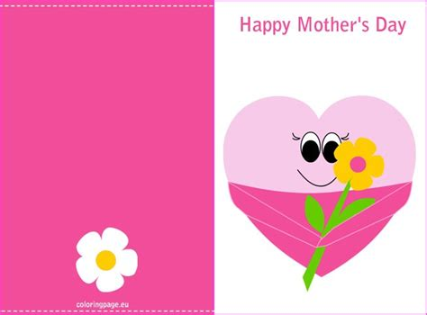 happy mothers day card template s day printable card coloring page