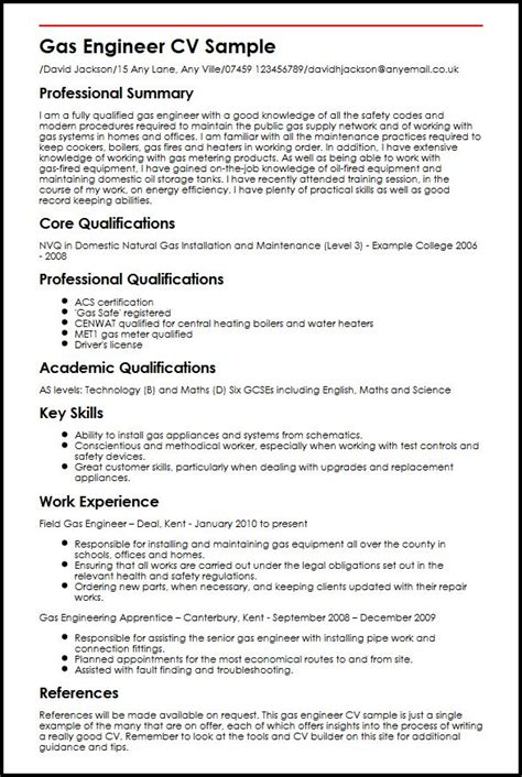 and gas resume template gas engineer cv sle myperfectcv