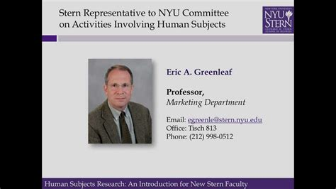 Nyu Mba Official Transcripts by Eric Greenleaf On Human Subjects Research At Nyu