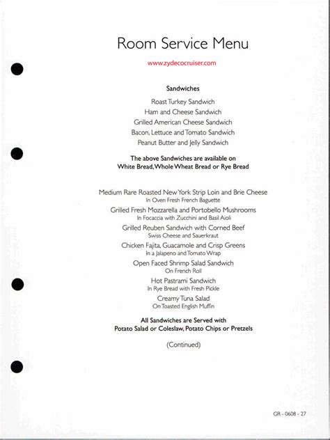 Room Service Menu by Room Service Menu Open Seating Cruise Critic Message