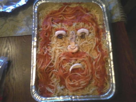 jesus appears on a spaghetti casserole