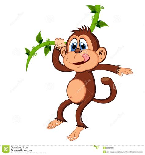 cartoon monkey swinging on a vine monkey swinging on vines cartoon stock vector image