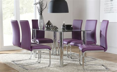 Purple Dining Room Set by Lunar Glass Chrome Dining Table And 4 6 Chairs Set