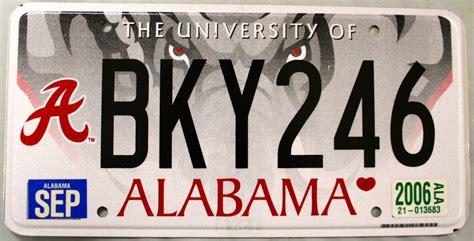 Alabama Vanity Plates by 2006 Alabama Of Alabama License Plate Bky246