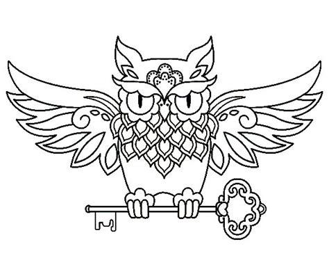 imagenes para colorear buho dibujo de tatuaje de b 250 ho con llave para colorear