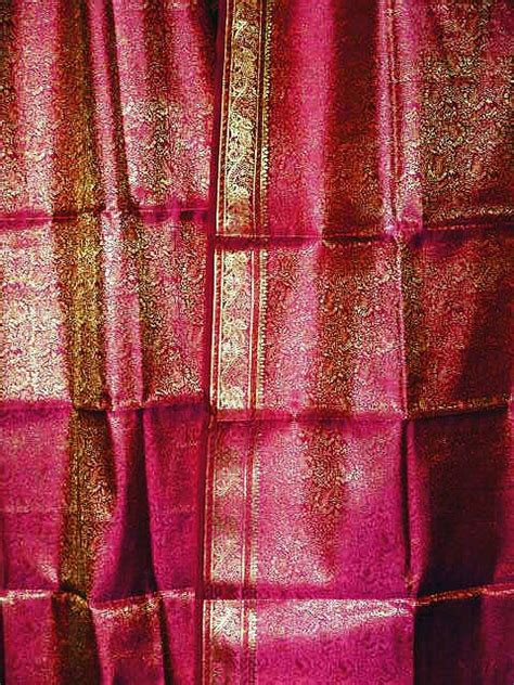Pink And Gold Curtains Sari Curtains 2 Drapes Pink Gold Brocade Silk Window Drapes 96 Inch Ebay
