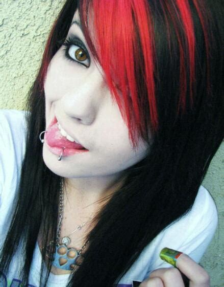 emo hairstyles red and black red bangs on tumblr