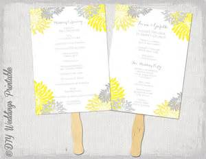 fan program template wedding fan program template flower burst yellow