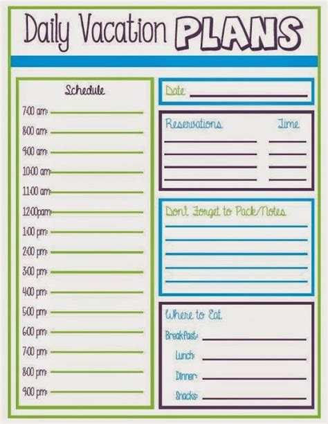 printable daily vacation planner daily vacation schedule walt disney world pinterest