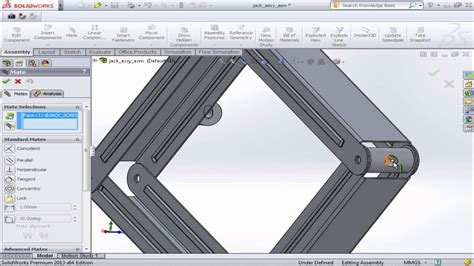 tutorial solidworks motion study solidworks motion study tutorials of a car jack youtube