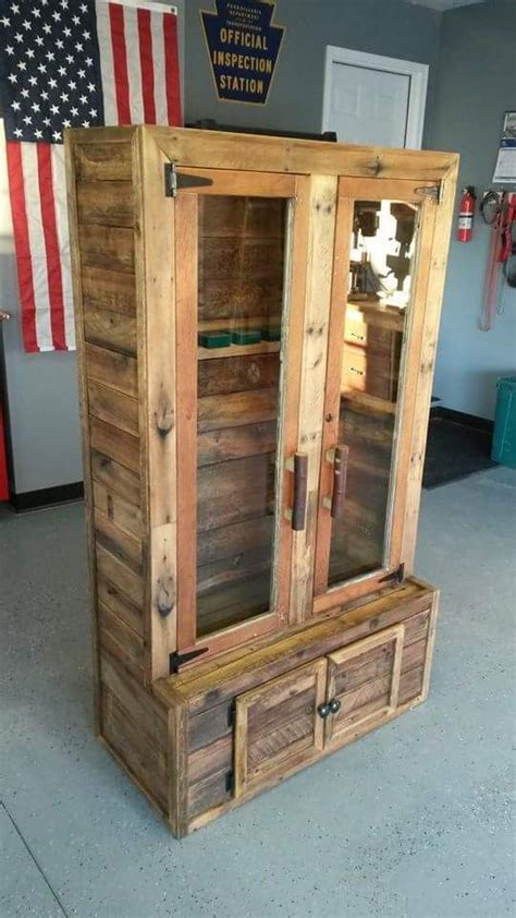 Glass For Gun Cabinet Door Gun Cabinet Built From Pallets The Glass Door And Frame Were From A Farm House Door That Got