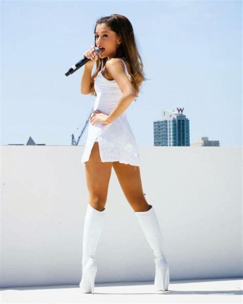 wear was ariana grande birn ariana grande in a white mini dress at the born free