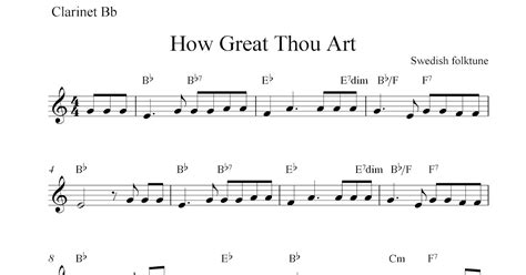how great thou art free clarinet sheet music notes