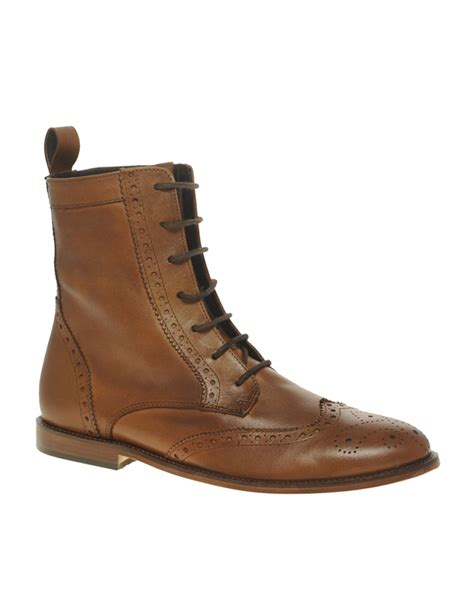 brogues boots asos asos leather sole brogue boots in brown for