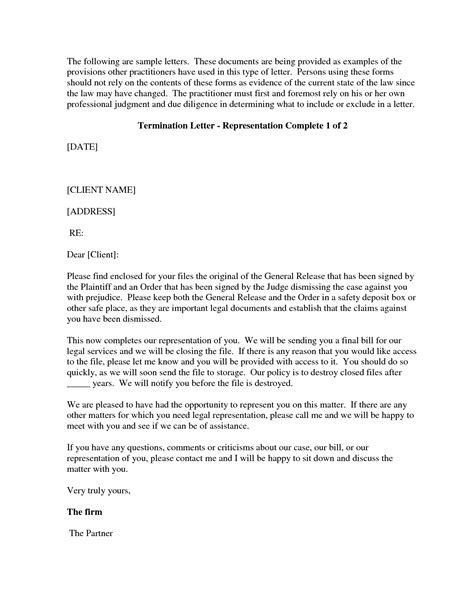 attorney termination letter template examples letter