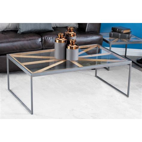 contemporary 3 iron glass coffee table set 44397