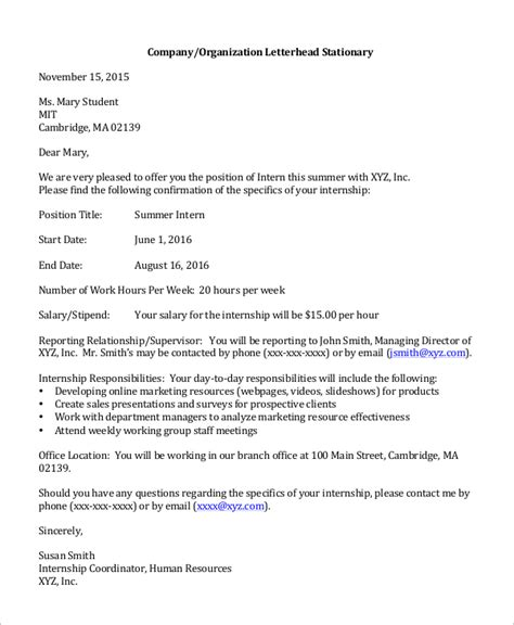 Offer Letter From Sle Offer Letter 8 Exles In Word Pdf