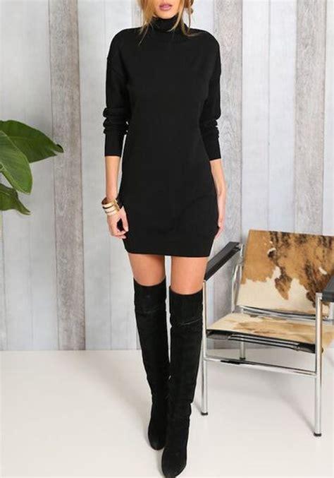 schwarz stehkragen langarm schlank mode minikleid winter